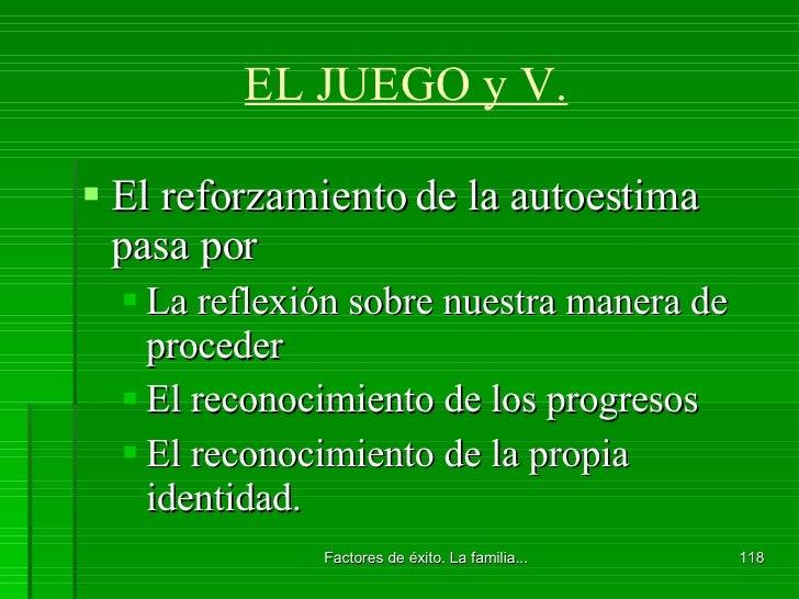 EL JUEGO y V. <ul><li>El reforzamiento de la autoestima pasa por </li></ul><ul><ul><li>La reflexión sobre nuestra manera d...
