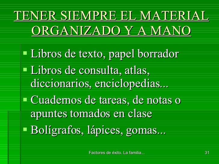 TENER SIEMPRE EL MATERIAL ORGANIZADO Y A MANO <ul><li>Libros de texto, papel borrador </li></ul><ul><li>Libros de consulta...
