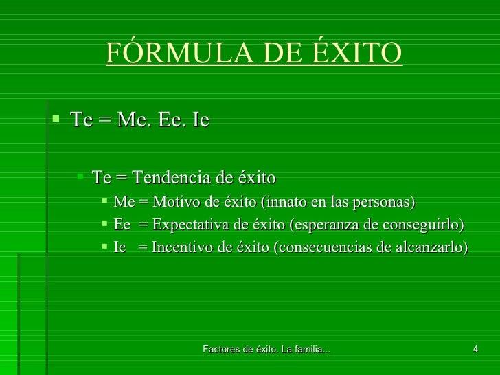 FÓRMULA DE ÉXITO <ul><li>Te = Me. Ee. Ie </li></ul><ul><ul><li>Te = Tendencia de éxito </li></ul></ul><ul><ul><ul><li>Me =...
