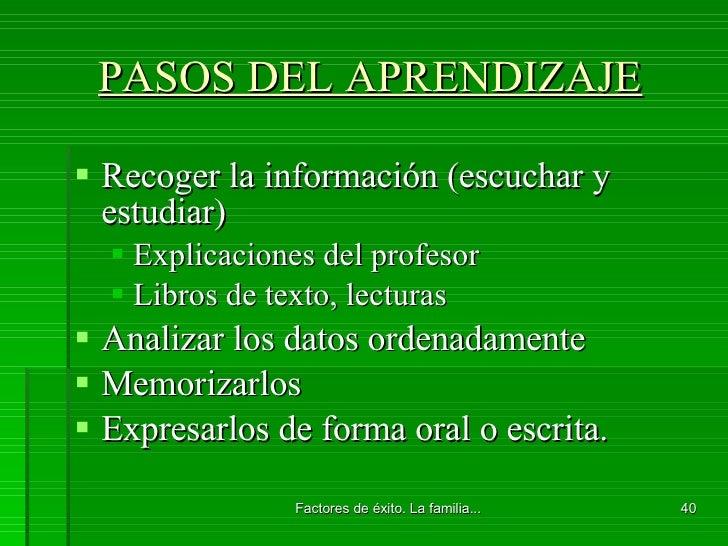 PASOS DEL APRENDIZAJE <ul><li>Recoger la información (escuchar y estudiar) </li></ul><ul><ul><li>Explicaciones del profeso...
