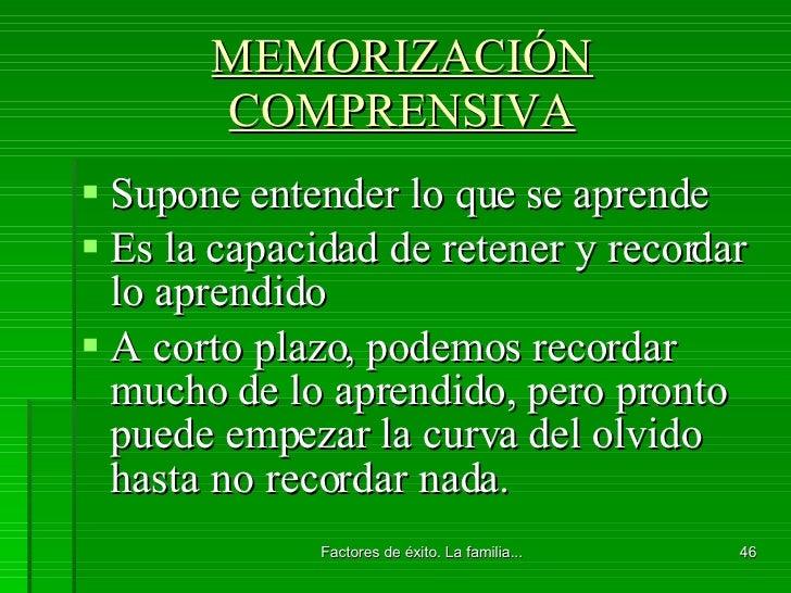 MEMORIZACIÓN COMPRENSIVA <ul><li>Supone entender lo que se aprende </li></ul><ul><li>Es la capacidad de retener y recordar...