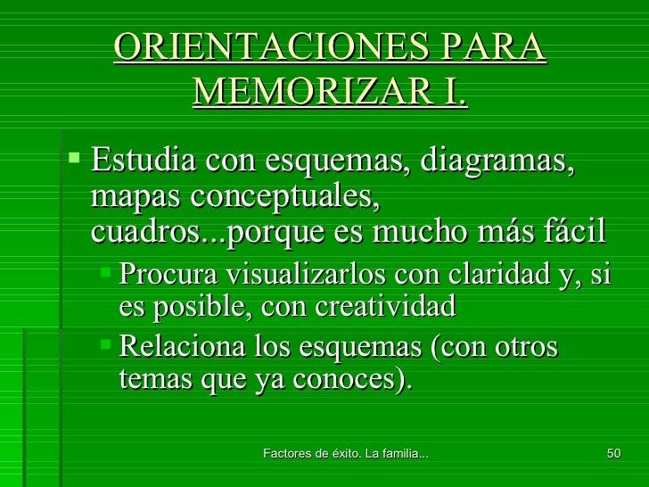 ORIENTACIONES PARA MEMORIZAR I. <ul><li>Estudia con esquemas, diagramas, mapas conceptuales, cuadros...porque es mucho más...