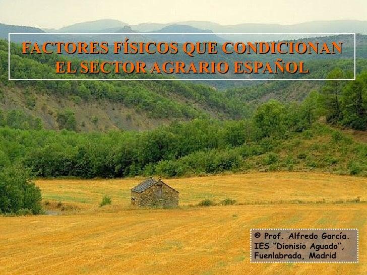 """FACTORES FÍSICOS QUE CONDICIONAN EL SECTOR AGRARIO ESPAÑOL © Prof. Alfredo García. IES """"Dionisio Aguado"""", Fuenlabrada, Mad..."""