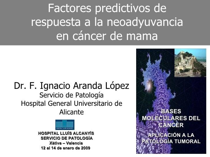 Factores predictivos de respuesta a la neoadyuvancia en cáncer de mama Dr. F. Ignacio Aranda López Servicio de Patología H...