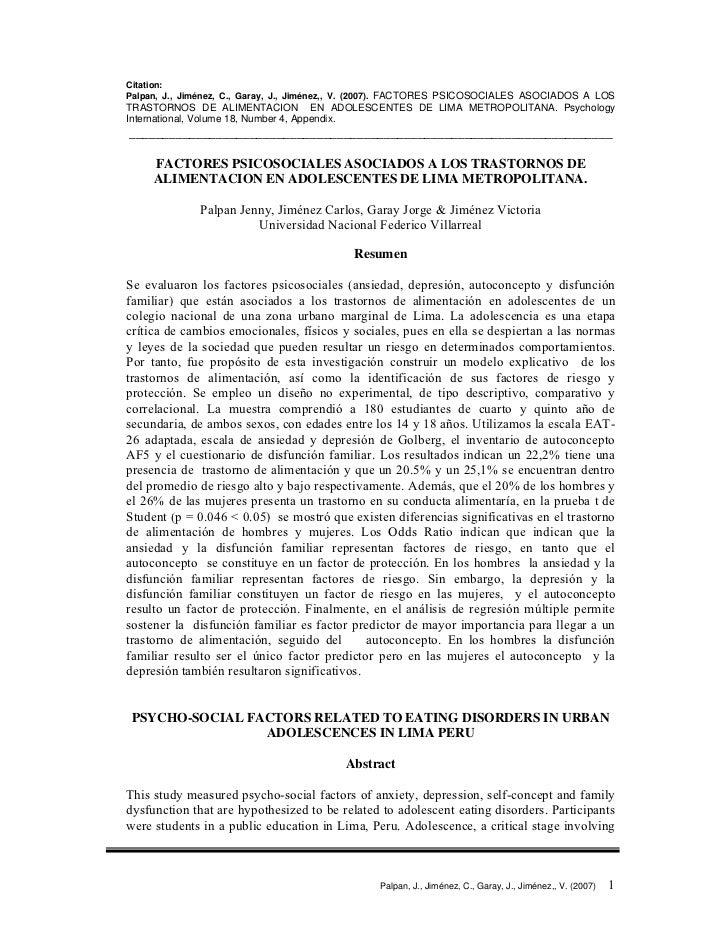 Citation: Palpan, J., Jiménez, C., Garay, J., Jiménez,, V. (2007). FACTORES PSICOSOCIALES ASOCIADOS A LOS TRASTORNOS DE AL...