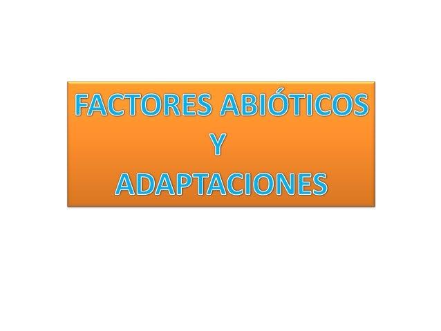 LOS FACTORES AMBIENTALES Y LASADAPTACIONESFactoresambientalesFACTORESABIÓTICOSFACTORESBIÓTICOSsonElementos del medio que i...