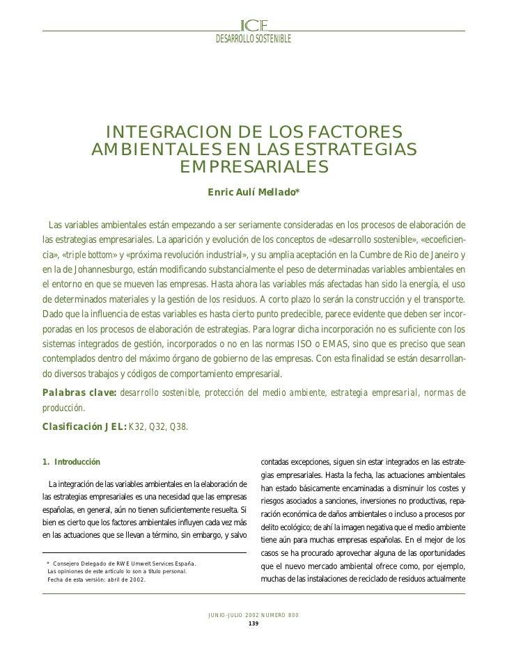 DESARROLLO SOSTENIBLE                       INTEGRACION DE LOS FACTORES                  AMBIENTALES EN LAS ESTRATEGIAS   ...