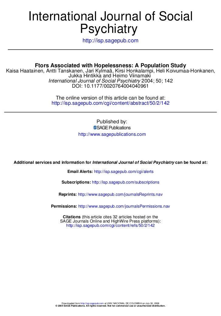 International Journal of Social                    Psychiatry                                                http://isp.sa...