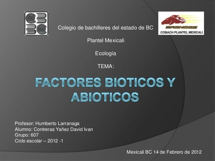 Colegio de bachilleres del estado de BC                               Plantel Mexicali                                    ...