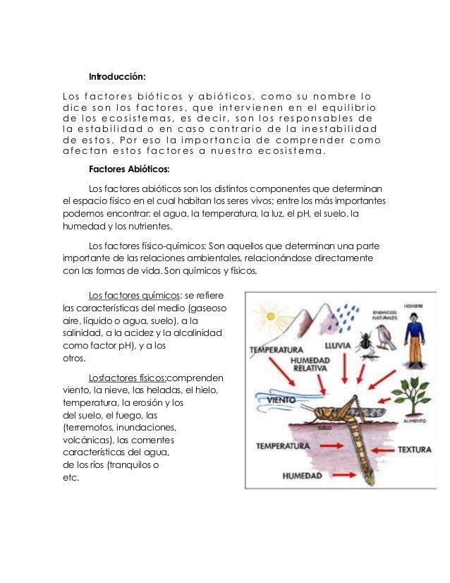 Introducción:Los factores bióticos y abióticos, como su nombre lodice son los factores, que intervienen en el equilibriode...