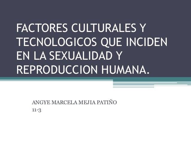 FACTORES CULTURALES Y TECNOLOGICOS QUE INCIDEN EN LA SEXUALIDAD Y REPRODUCCION HUMANA. ANGYE MARCELA MEJIA PATIÑO 11-3