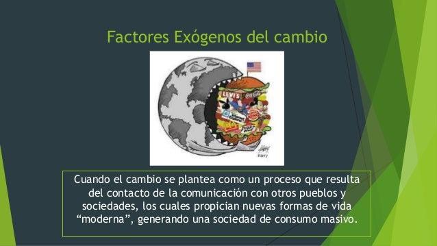 Factores Exógenos del cambio Cuando el cambio se plantea como un proceso que resulta del contacto de la comunicación con o...