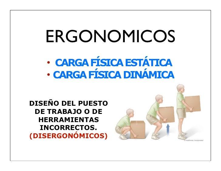 ERGONOMICOS   • CARGA FÍSICA ESTÁTICA   • CARGA FÍSICA DINÁMICADISEÑO DEL PUESTO DE TRABAJO O DE  HERRAMIENTAS  INCORRECTO...