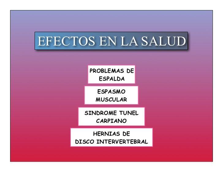 EFECTOS EN LA SALUD        PROBLEMAS DE           ESPALDA         ESPASMO         MUSCULAR      SINDROME TUNEL         CAR...