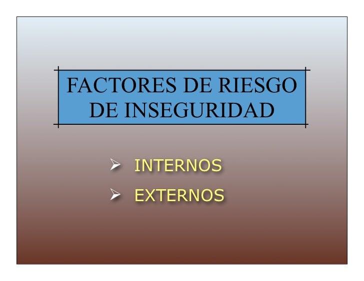 FACTORES DE RIESGO  DE INSEGURIDAD    INTERNOS    EXTERNOS
