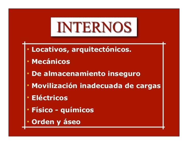 INTERNOS• Locativos, arquitectónicos.• Mecánicos• De almacenamiento inseguro• Movilización inadecuada de cargas• Eléctrico...