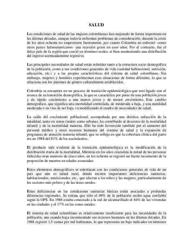 SALUD Las condiciones de salud de las mujeres colombianas han mejorado de forma importante en las últimas décadas, aunque ...