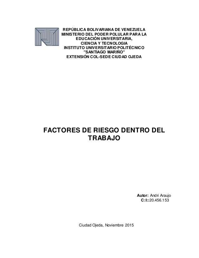 REPÚBLICA BOLIVARIANA DE VENEZUELA MINISTERIO DEL PODER POLULAR PARA LA EDUCACIÓN UNIVERSITARIA, CIENCIA Y TECNOLOGIA INST...