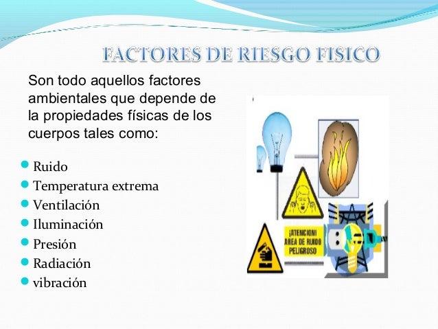 Son todo aquellos factores  ambientales que depende de  la propiedades físicas de los  cuerpos tales como:  Ruido  Tempe...