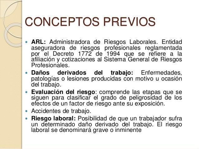 CONCEPTOS PREVIOS  ARL: Administradora de Riesgos Laborales. Entidad aseguradora de riesgos profesionales reglamentada po...