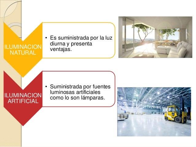 ILUMINACION NATURAL • Es suministrada por la luz diurna y presenta ventajas. ILUMINACION ARTIFICIAL • Suministrada por fue...