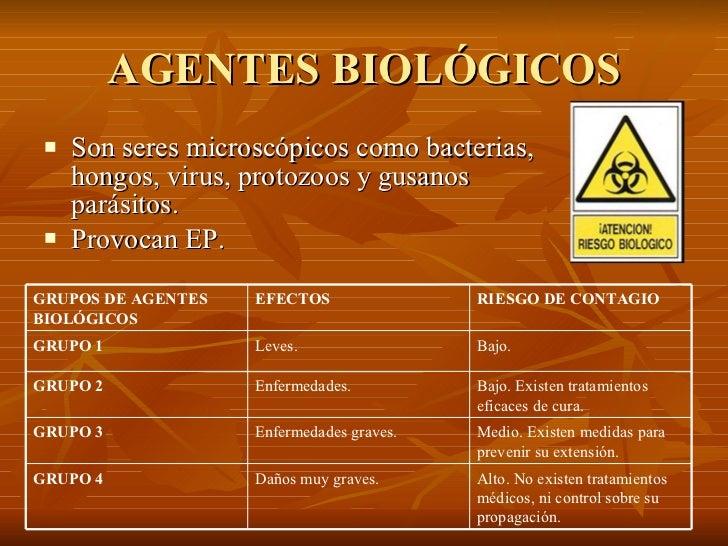 AGENTES BIOLÓGICOS <ul><li>Son seres microscópicos como bacterias, hongos, virus, protozoos y gusanos parásitos. </li></ul...