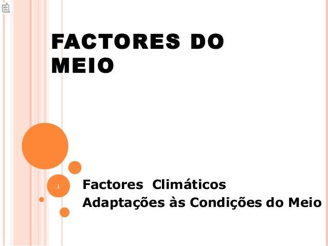 FACTORES DOMEIO1   Factores Climáticos    Adaptações às Condições do Meio