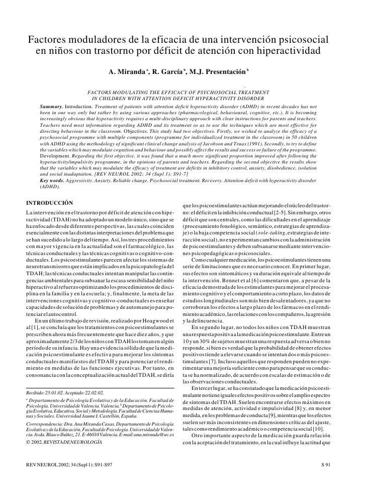 TRASTORNO DE DÉFICIT DE ATENCIÓN CON HIPERACTIVIDADFactores moduladores de la eficacia de una intervención psicosocial en ...