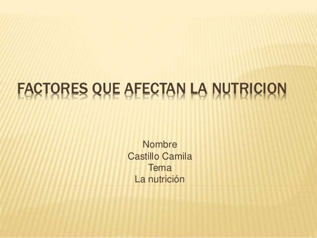 FACTORES QUE AFECTAN LA NUTRICION Nombre Castillo Camila Tema La nutrición