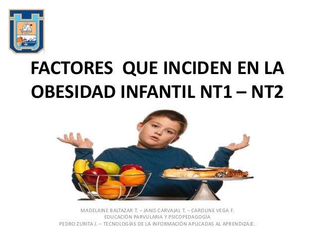 FACTORES QUE INCIDEN EN LAOBESIDAD INFANTIL NT1 – NT2MADELAINE BALTAZAR T. – JANIS CARVAJAL T. – CAROLINE VEGA F.EDUCACIÓN...