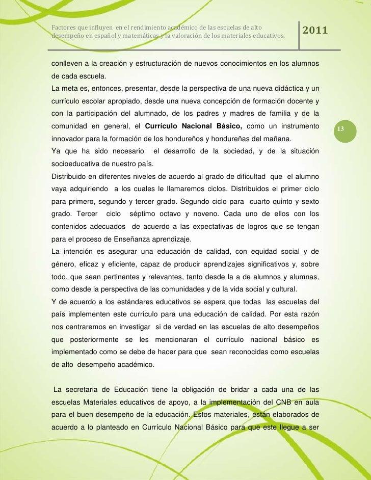 Factores que influyen en el rendimiento acad mico de las for Curriculo basico nacional