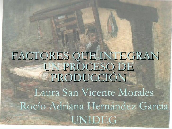 <ul><li>FACTORES QUE INTEGRAN UN PROCESO DE PRODUCCIÓN </li></ul>Laura San Vicente Morales Rocío Adriana Hernández García ...