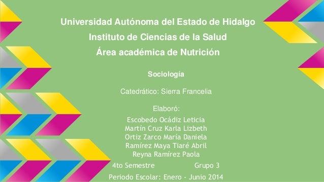 Universidad Autónoma del Estado de Hidalgo Instituto de Ciencias de la Salud Área académica de Nutrición Sociología Catedr...