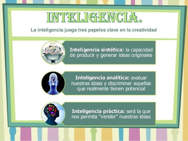 Inteligencia sintética: la capacidad de producir y generar ideas originales Inteligencia analítica: evaluar nuestras ideas...