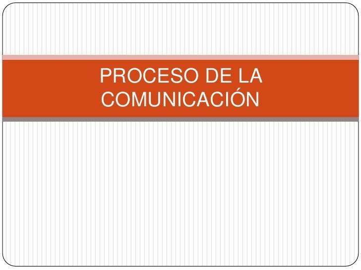 PROCESO DELA COMUNICACIÓN<br />