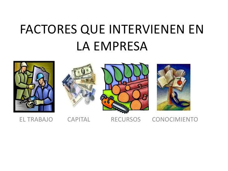 FACTORES QUE INTERVIENEN EN        LA EMPRESAEL TRABAJO   CAPITAL   RECURSOS   CONOCIMIENTO