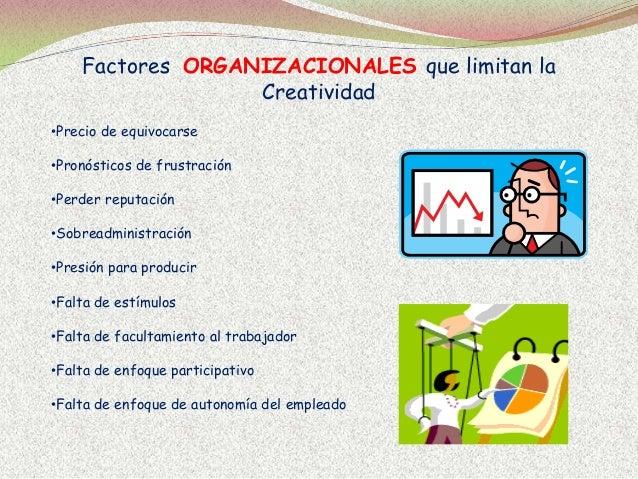 Factores ORGANIZACIONALES que limitan la Creatividad •Precio de equivocarse •Pronósticos de frustración •Perder reputación...