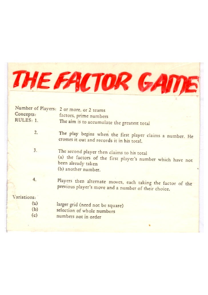 Factor game instructions