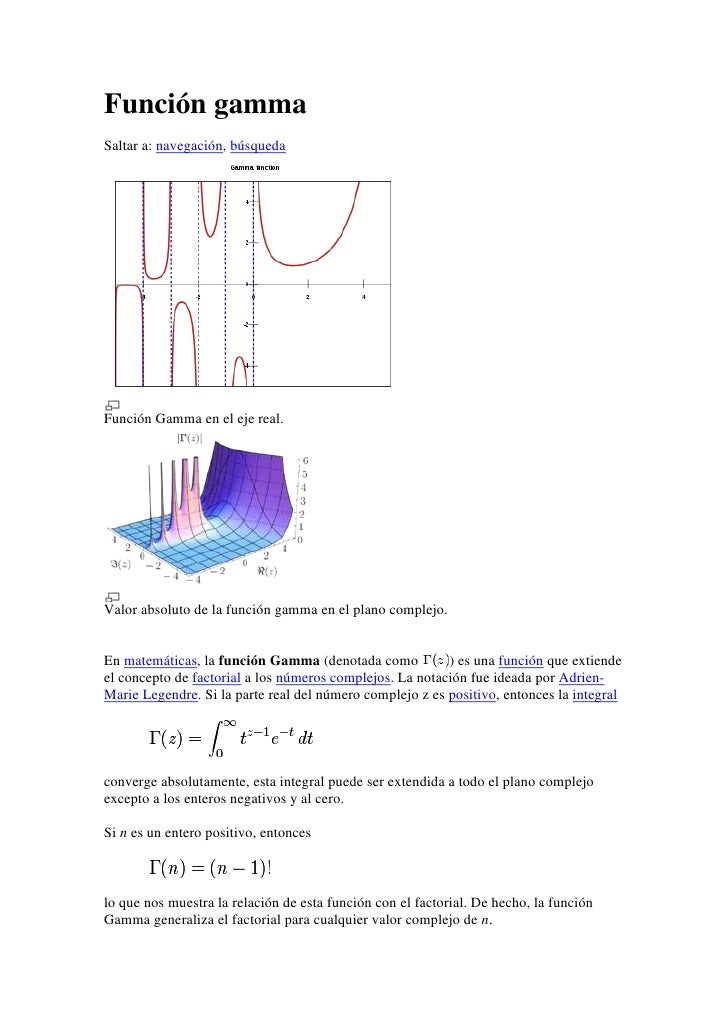 Función gammaSaltar a: navegación, búsquedaFunción Gamma en el eje real.Valor absoluto de la función gamma en el plano com...