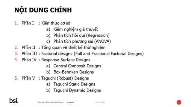 Thiết kế và phân tích thử nghiệm (DOE - Design of Experiment) Slide 2
