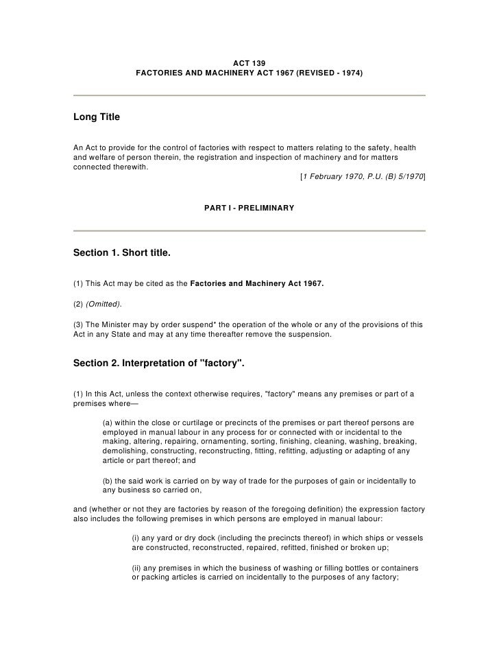 Factories And Machinery Act 1967 Revised 1974 Malaysia