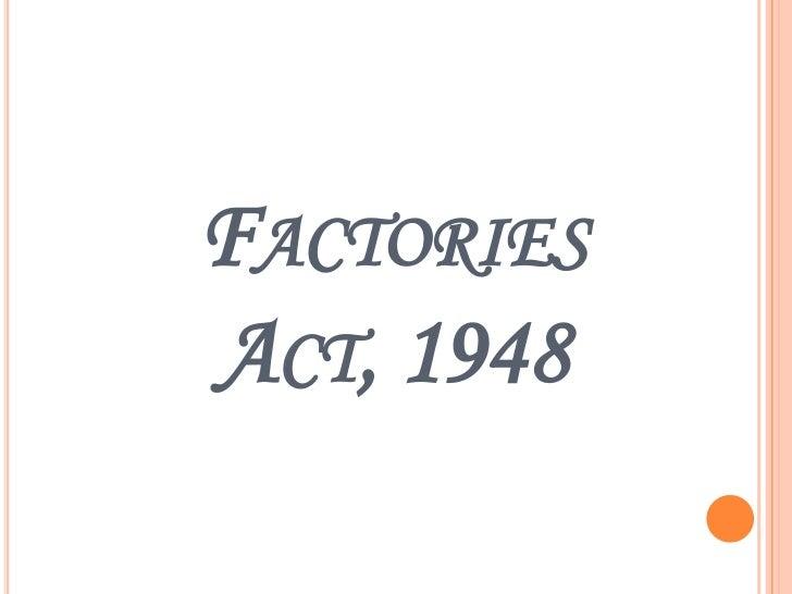 FACTORIESACT, 1948