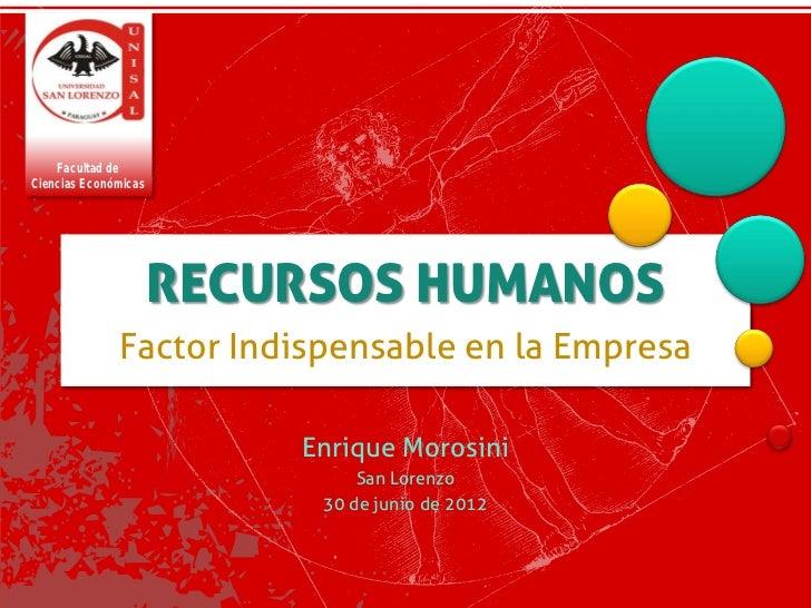 Facultad deCiencias Económicas                      RECURSOS HUMANOS              Factor Indispensable en la Empresa      ...