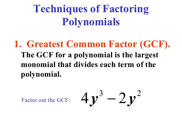 Factoring and Box Method – Factoring Greatest Common Factor Worksheet