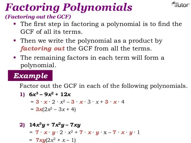 write the polynomial as a product of linear factors The calculator will try to factor any polynomial (binomial  factoring quadratic polynomials into linear factors be careful when you write fractions: 1/x^2.