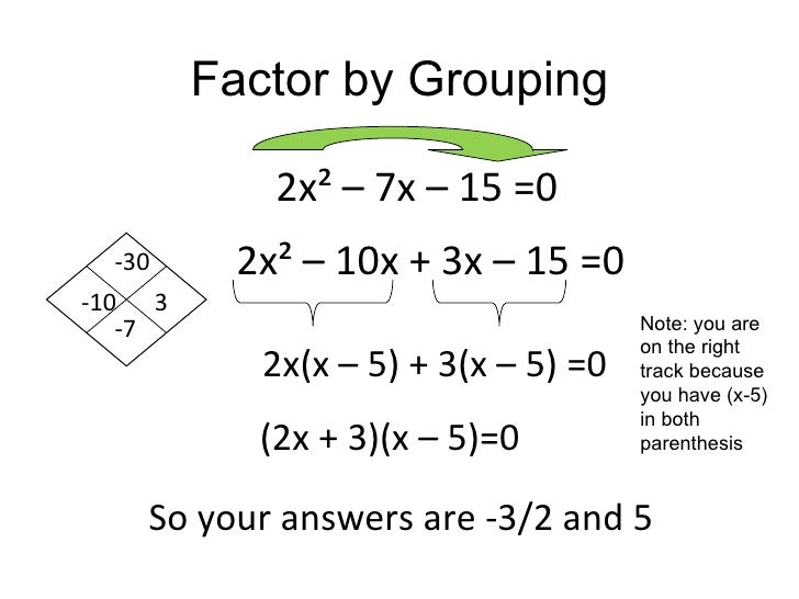 quadratic expression factoring