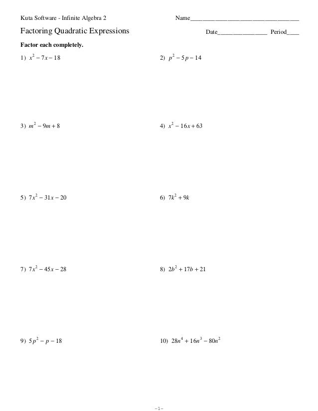 Factoring Quadratics Worksheets - Sharebrowse