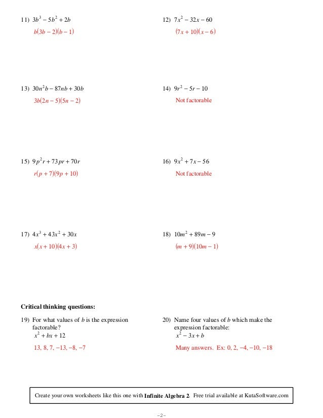 Factoring quadratic expressions – Algebra 1 Factoring Worksheet