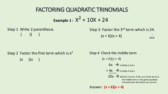 Factoring Trinomials Questions And Answers
