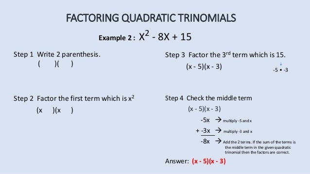 Factoring Quadratic Trinomials